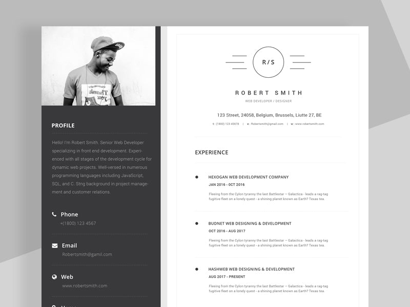 free unique stylish resume cv template in photoshop  psd