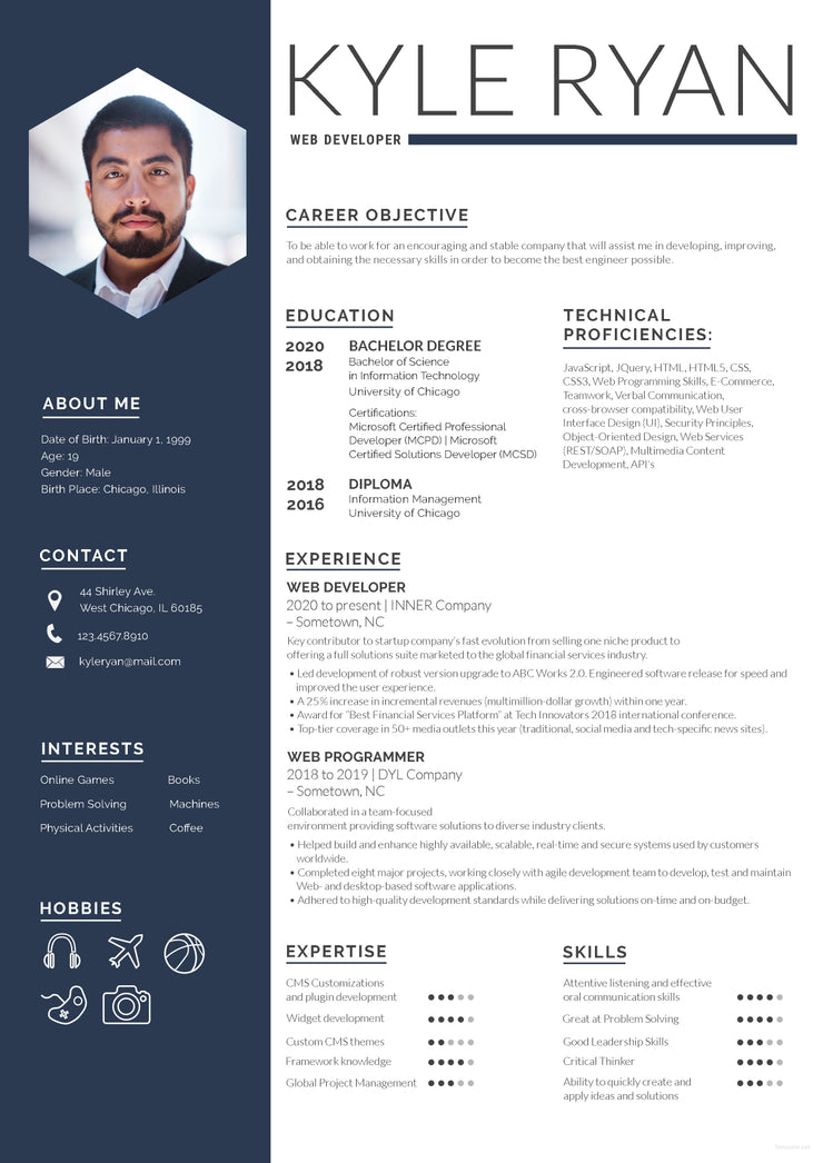 free web developer resume cv template in photoshop  psd  format
