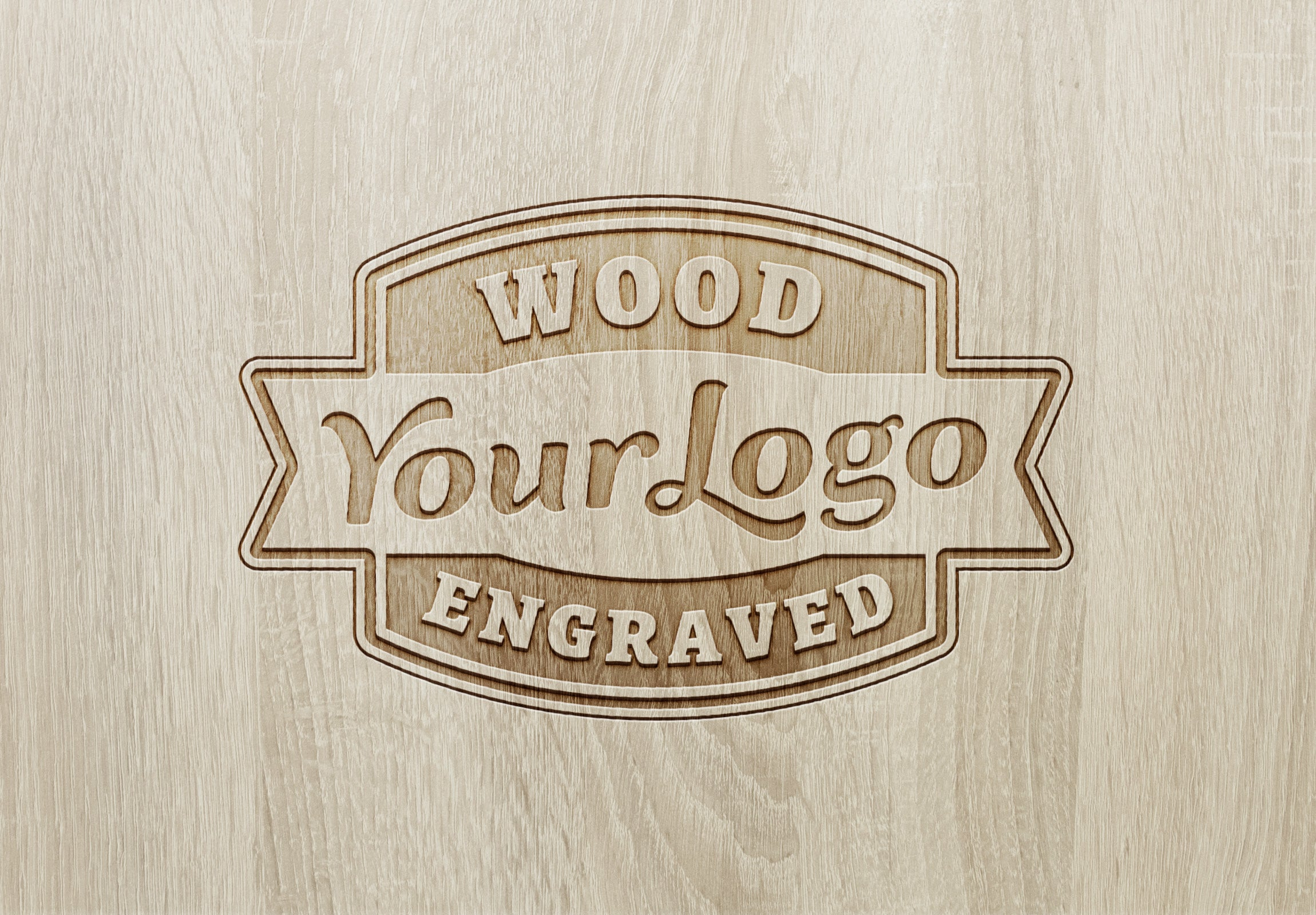 Free Authentic Wood Engraved Logo MockUp - CreativeBooster