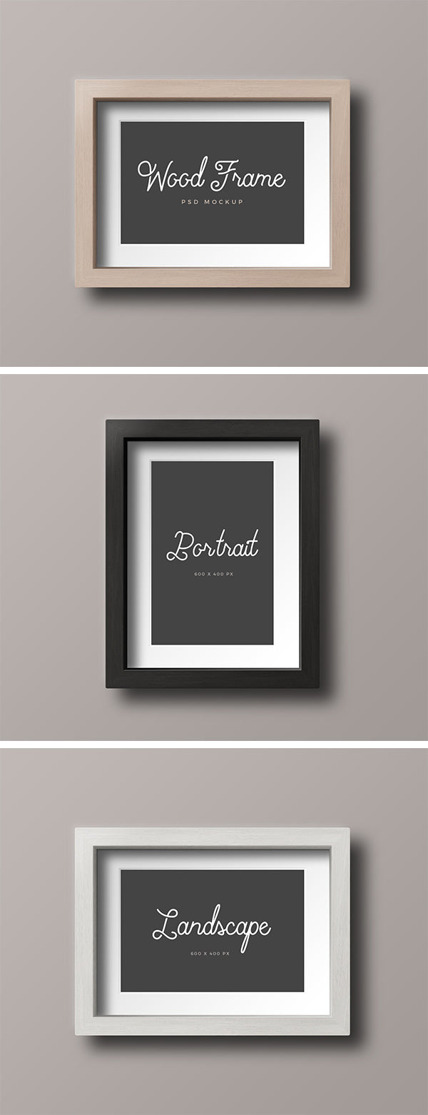 Free Wood Photo Frame Mockup In Vertical And Horizontal View
