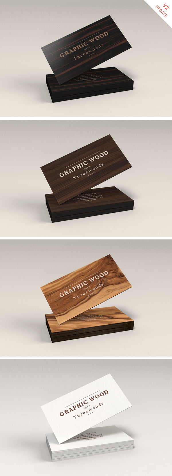 Free Wooden Business Cards MockUp - CreativeBooster