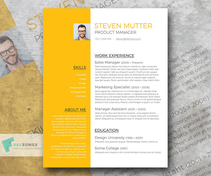 free modern product manager cv resume template in minimal