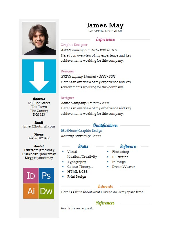 free arrows cv resume template in microsoft word docx format