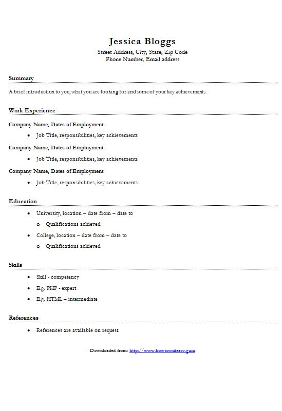 Free Basic CV Resume Template In Microsoft Word DOCX Format