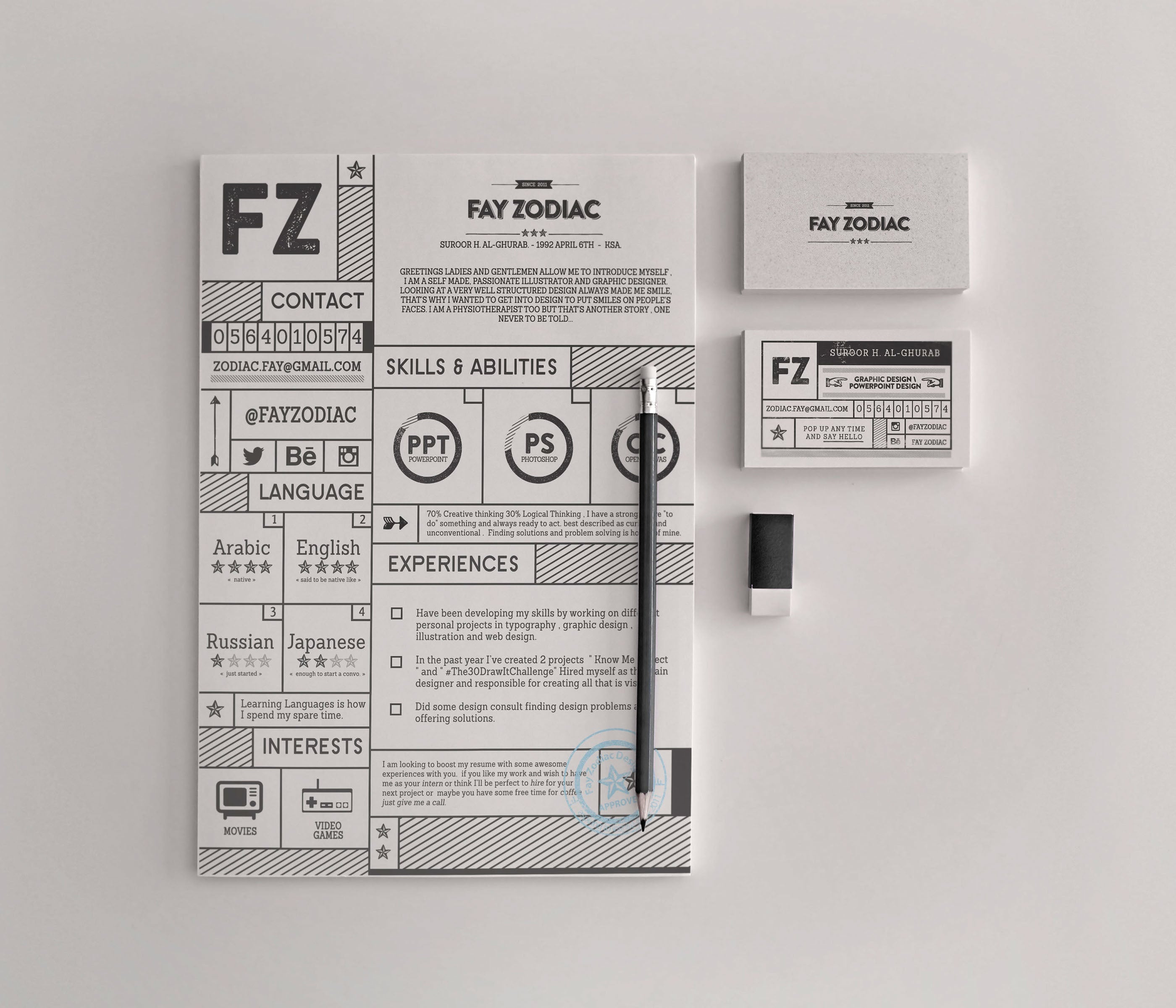 Free Creative Retro Resume Template in Photoshop (PSD) and