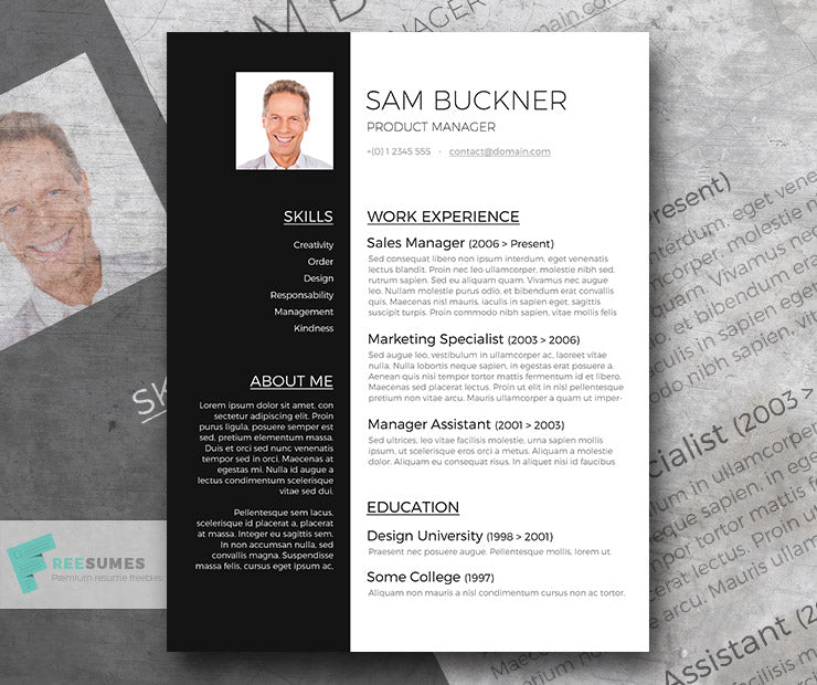 free modern two-tone cv resume template in minimal style in microsoft