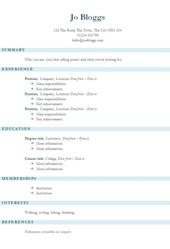 free blue stripes resume cv template in microsoft word docx format
