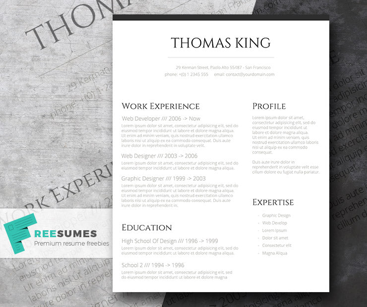 Free Classic Conservative Basic CV Resume Template In Clean Text Style Microsoft Word DOC Format