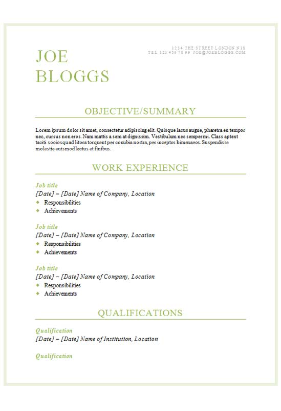 Free Classic Green Text Only CV Resume Template In Microsoft Word DOCX Format