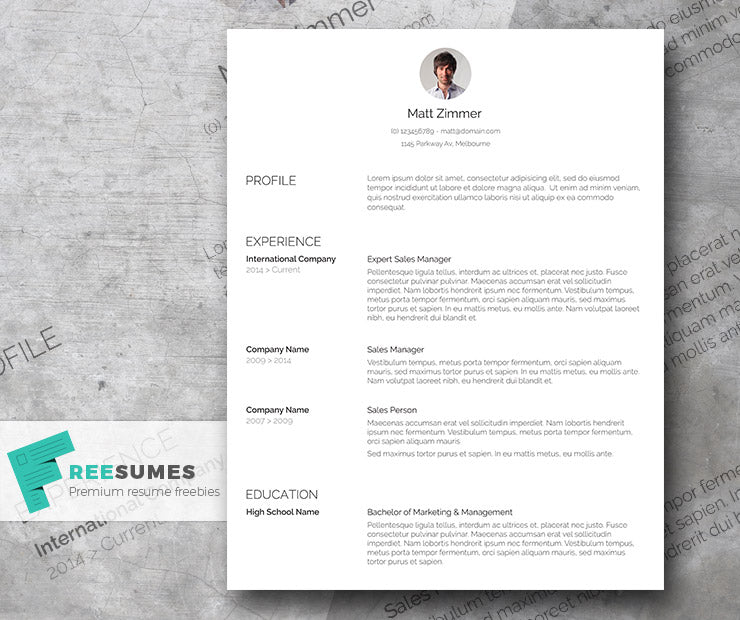 Free Professional Spick And Span CV Resume Template In Minimal Clean Style Microsoft Word DOC Format