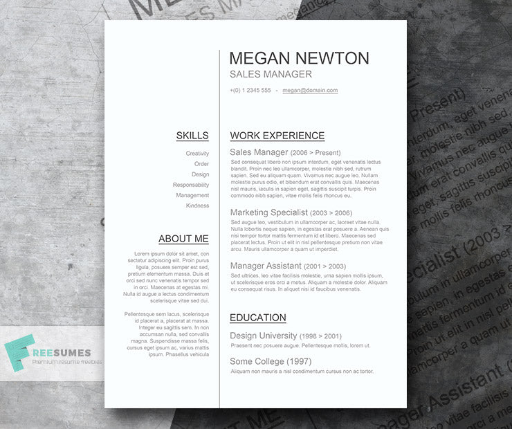 Free Classic Conservative Plain And Simple CV Resume Template In Clean Text  Style In Microsoft Word (DOC) Format
