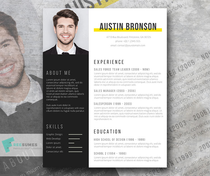 Free Modern Contrast Cv Resume Template In Minimal Style In