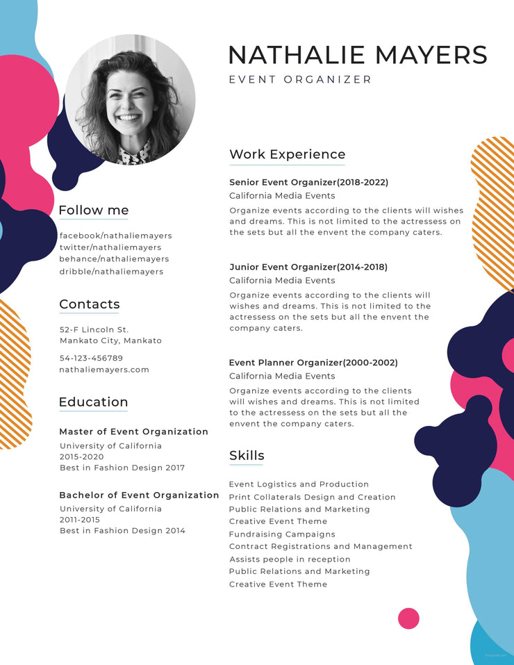 Free Creative Resume Cv Template In Photoshop Psd Illustrator
