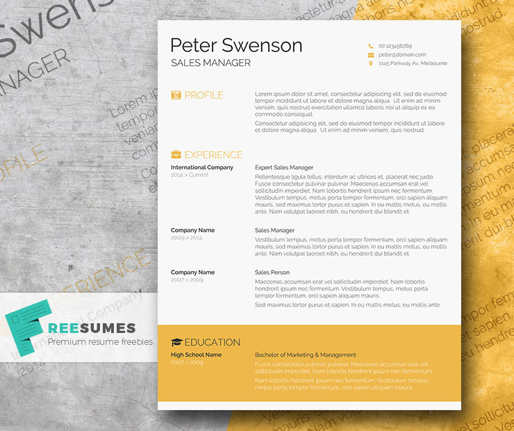 Free Modern Goldenrod Yellow CV Resume Template In Minimal Style Microsoft Word DOC Format