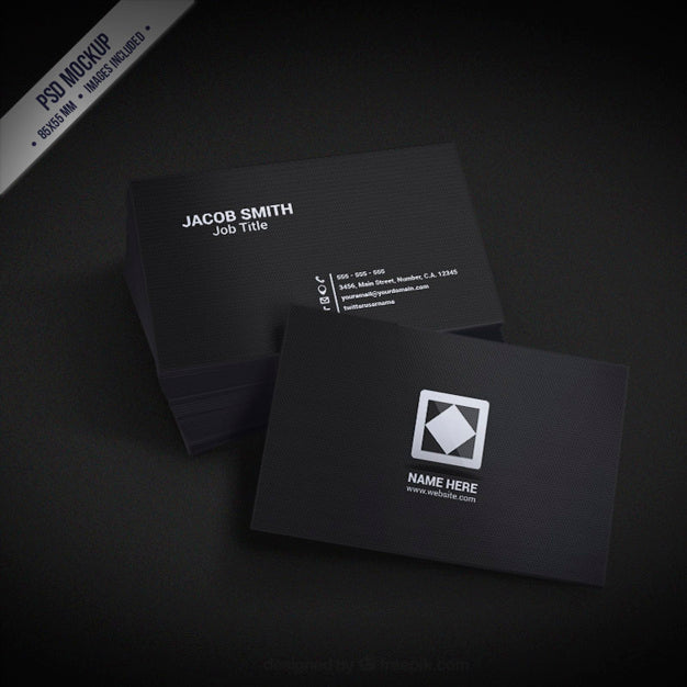 Free stationery mockups tagged set creativebooster free black business card mockup set reheart Image collections