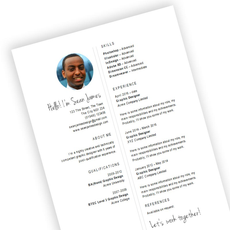 free designer cv and resume template in microsoft word docx format