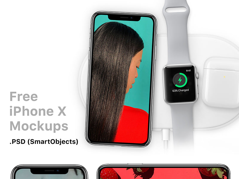 timeless design ac752 351f9 Free iPhone X Mockup with Apple Watch - CreativeBooster