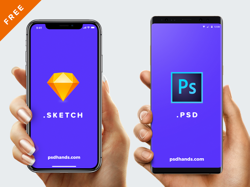 Free Hand with iPhone X or 8 or Android or Mockup PSD or SKETCH