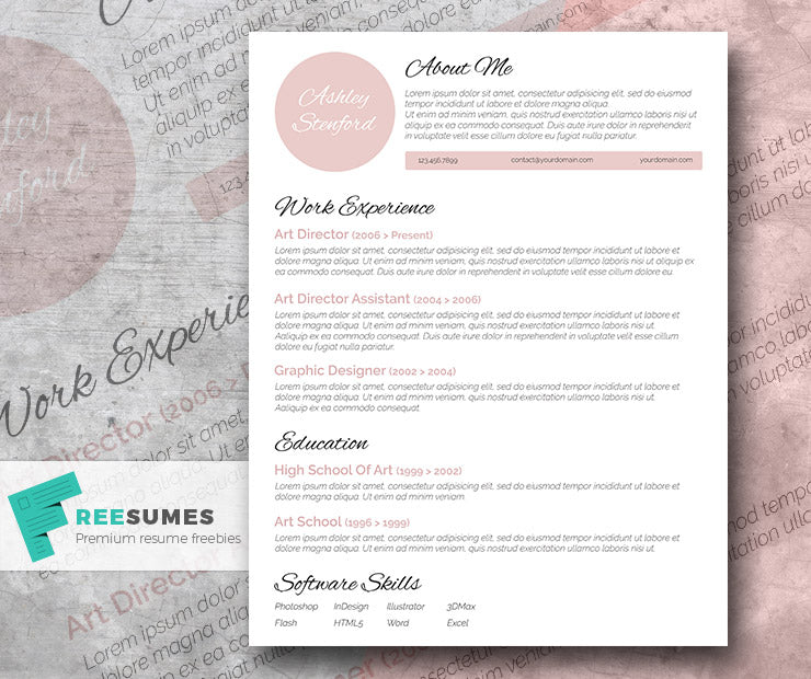 Free Professional Beautiful CV Resume Template In Minimal Style Microsoft Word DOC Format