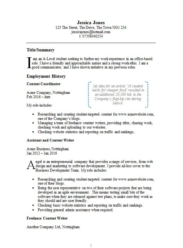 Free Example Cv Resume Template In Microsoft Word Doc Format