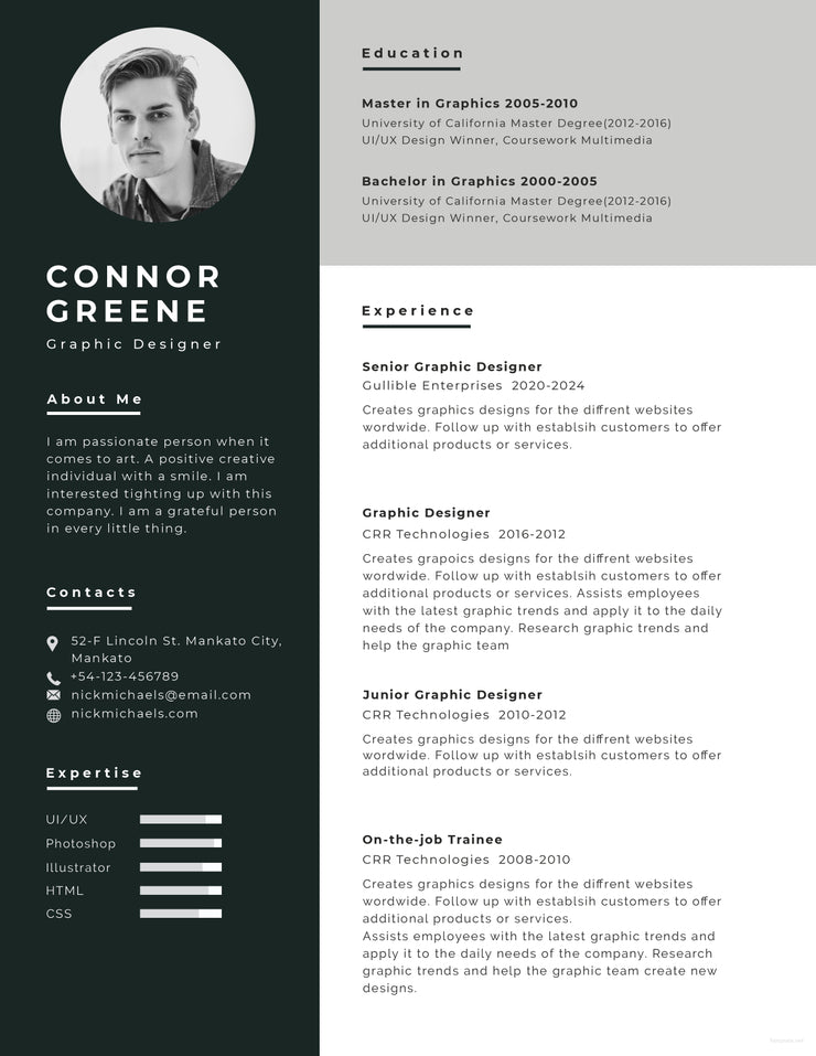 Free Experience Graphic Designer Resume CV Template In Photoshop