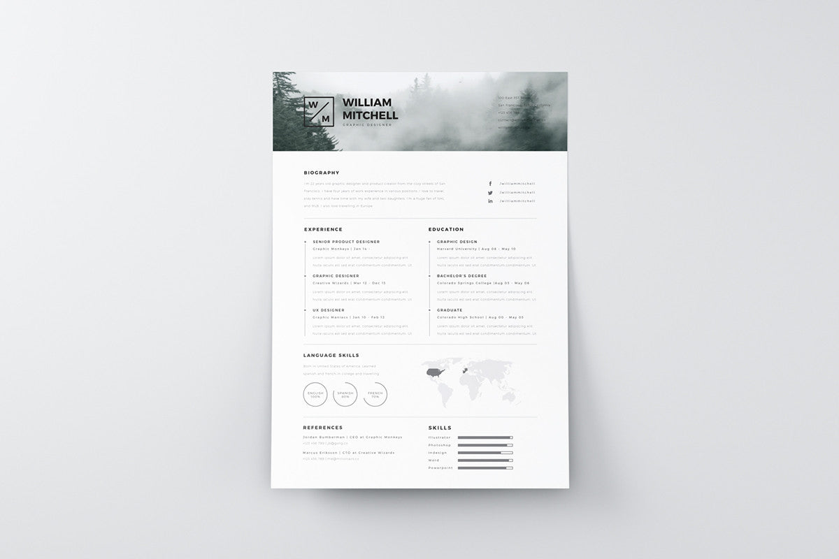 design resume template free