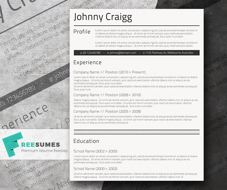 Free Classic Conservative Simple Cv Resume Template In Clean