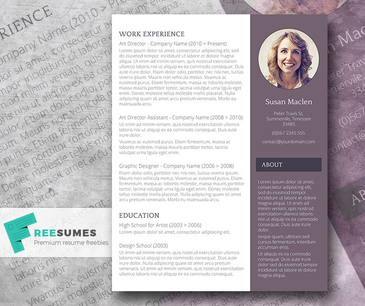 free creative modern photo cv resume template in minimal