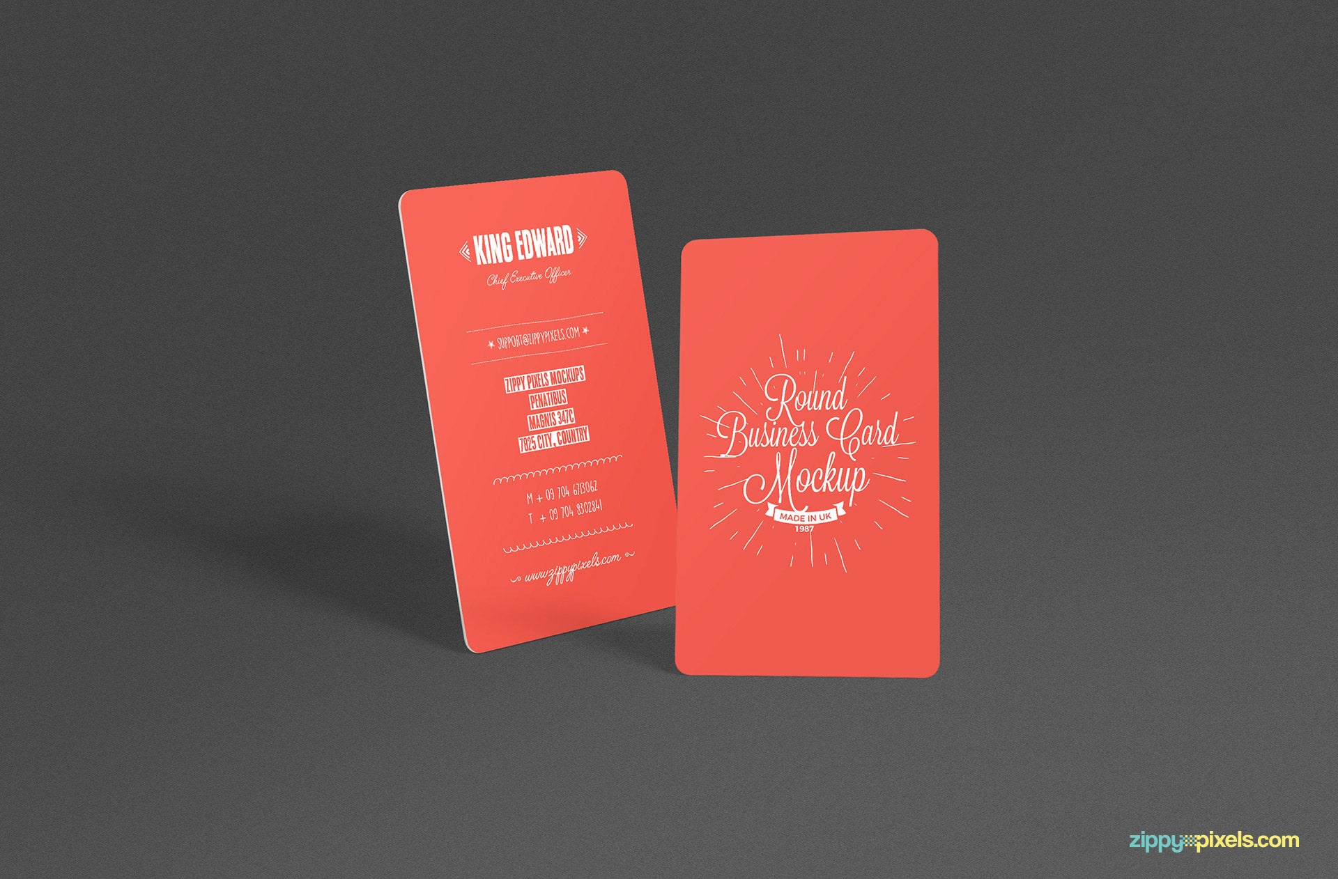 Free Stylish Round Business Card Mockup PSD - CreativeBooster
