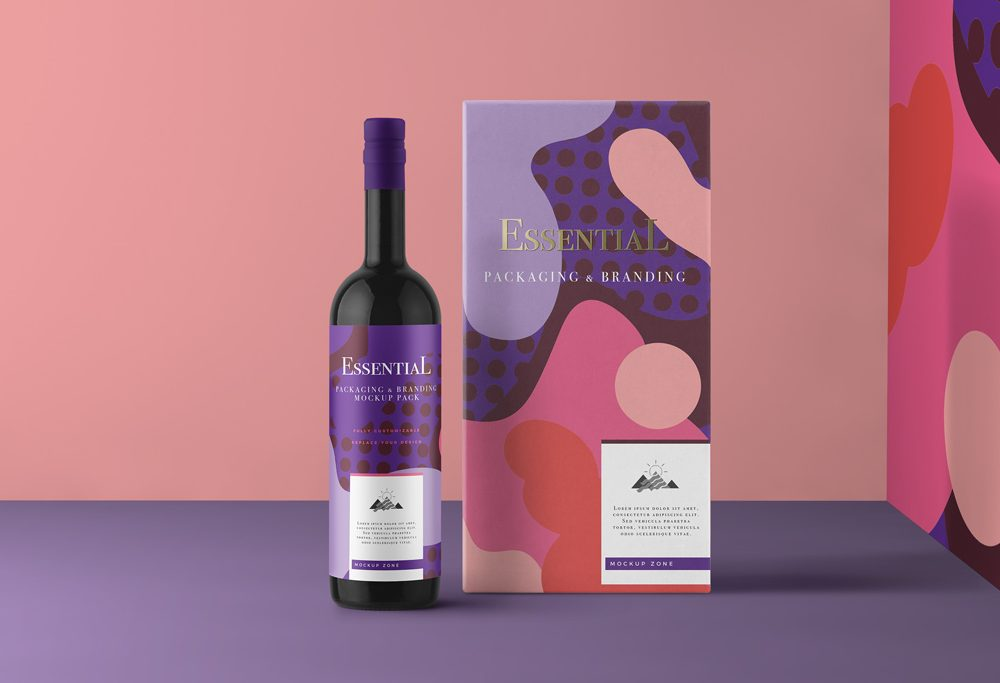Free Wine Bottle With Packaging Box Mockup Creativebooster