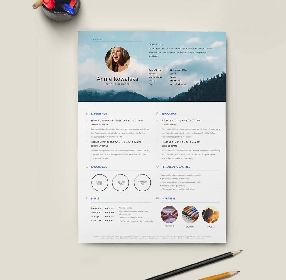 Free Minimalistic Resume and CV Template in Illustrator (AI) Format ...