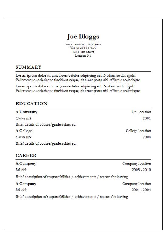 free garamond column text only cv resume template in microsoft word  d