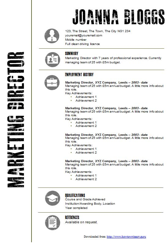 Free Creative Black And White Resume CV Template In Microsoft Word DOCX Format