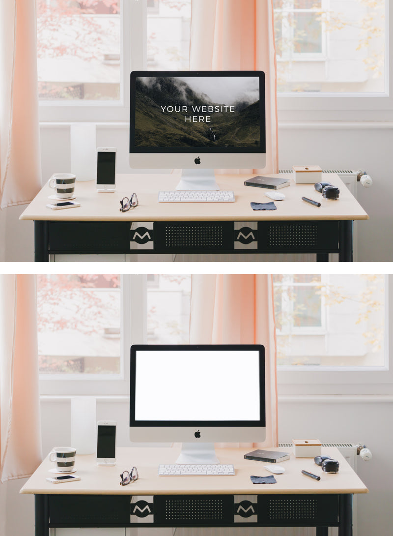 Free iMac Home Office Table (Psd Mockup) - CreativeBooster
