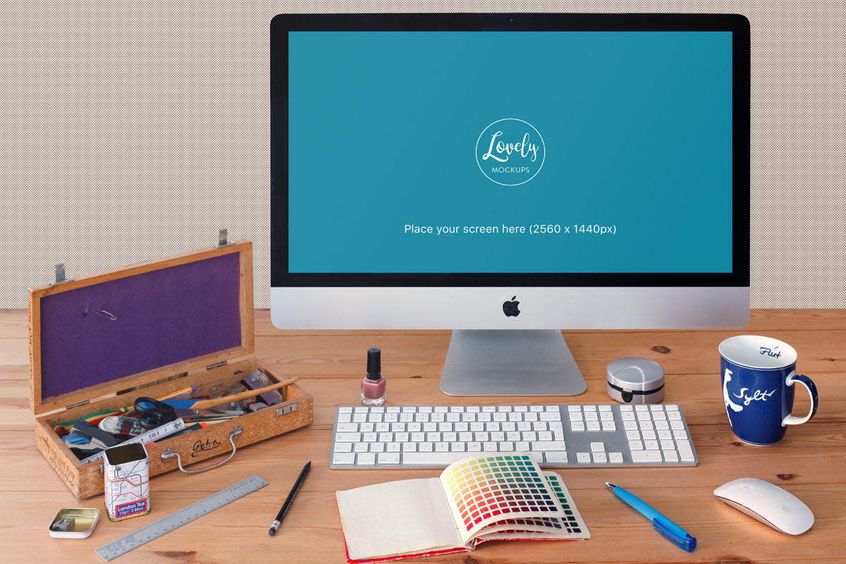 Apple imac & iphone6 home office free psd mockup firmbee.