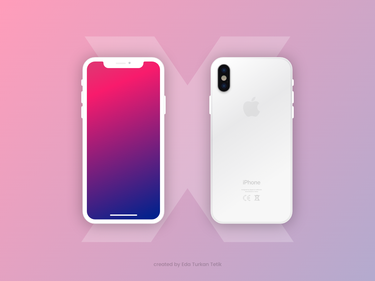 13cf3de1462 Free Flat iPhone X Mockup White and Black Versions - CreativeBooster