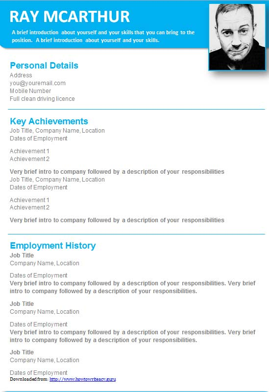 Free Creative Photo CV Resume Template In Microsoft Word DOCX Format