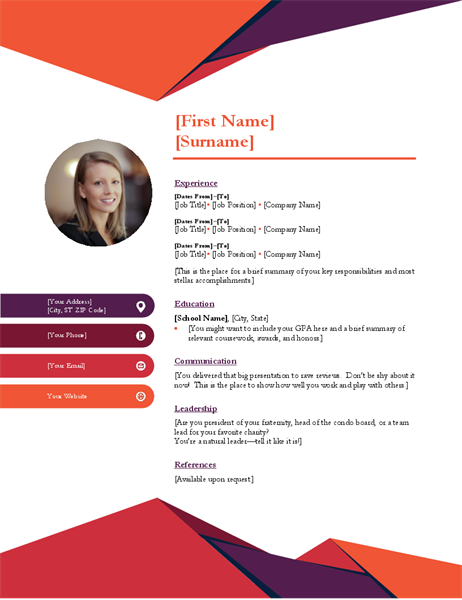 Free Contemporary Photo Resume Template In Microsoft Word Docx