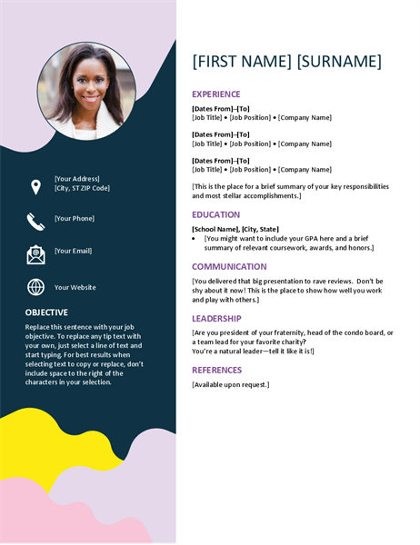 free organic shapes cv resume template in microsoft word