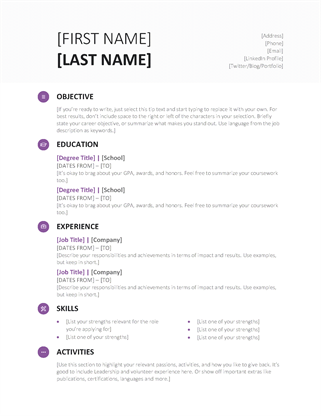 free student resume template modern design in microsoft word docx format