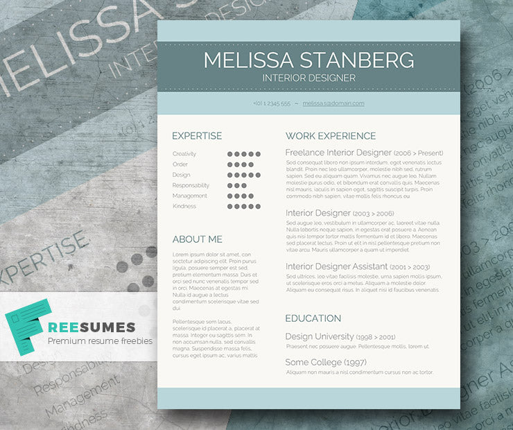 free modern stylish cv resume template in minimal style in