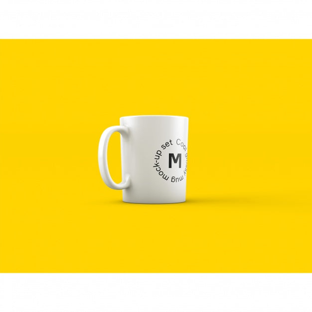 Download Free Coffee Mug Mockup White Mug Mockup Mug: Free White Coffee Mug On Yellow Background PSD Mockup