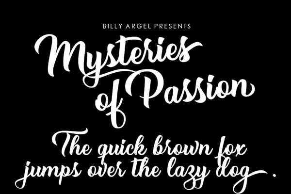 free mysteries of passion script font