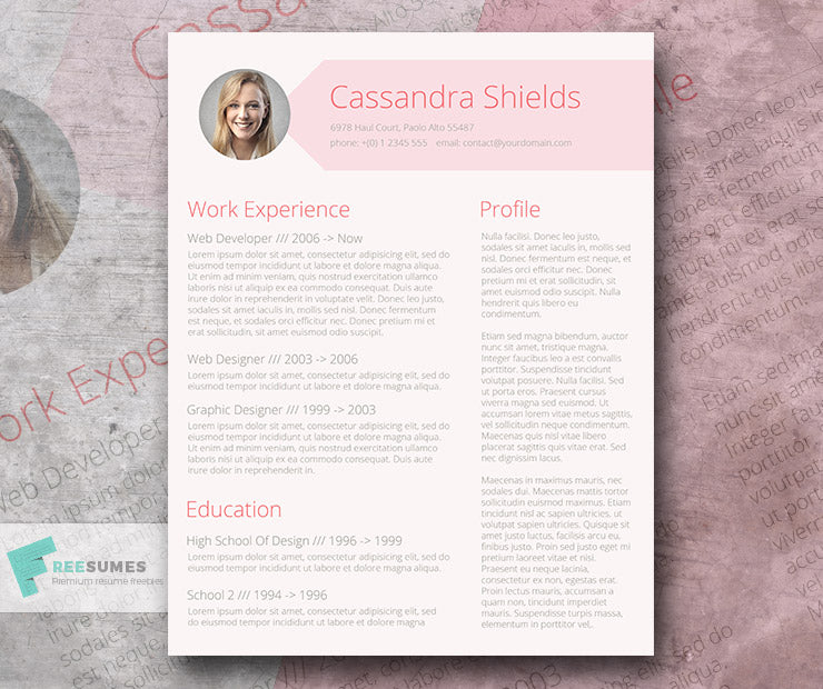Free Creative Blush Photo CV Resume Template in Minimal Style in ...