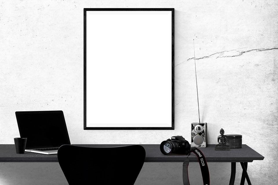 Free Empty White Poster or Frame in Office Photo Mockup ...