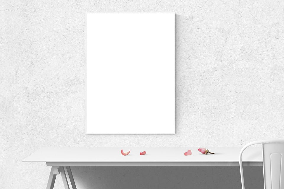 Free White Poster and Frame Mockup Photo Mockup - CreativeBooster