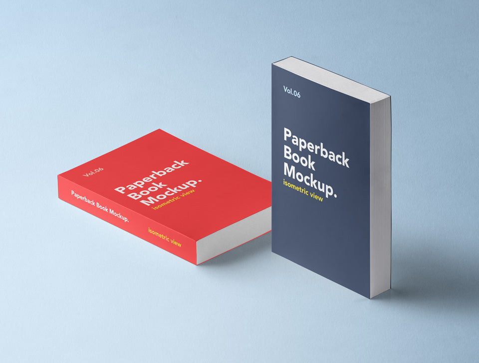 Free Paperback Psd Book Mockup Isometric View