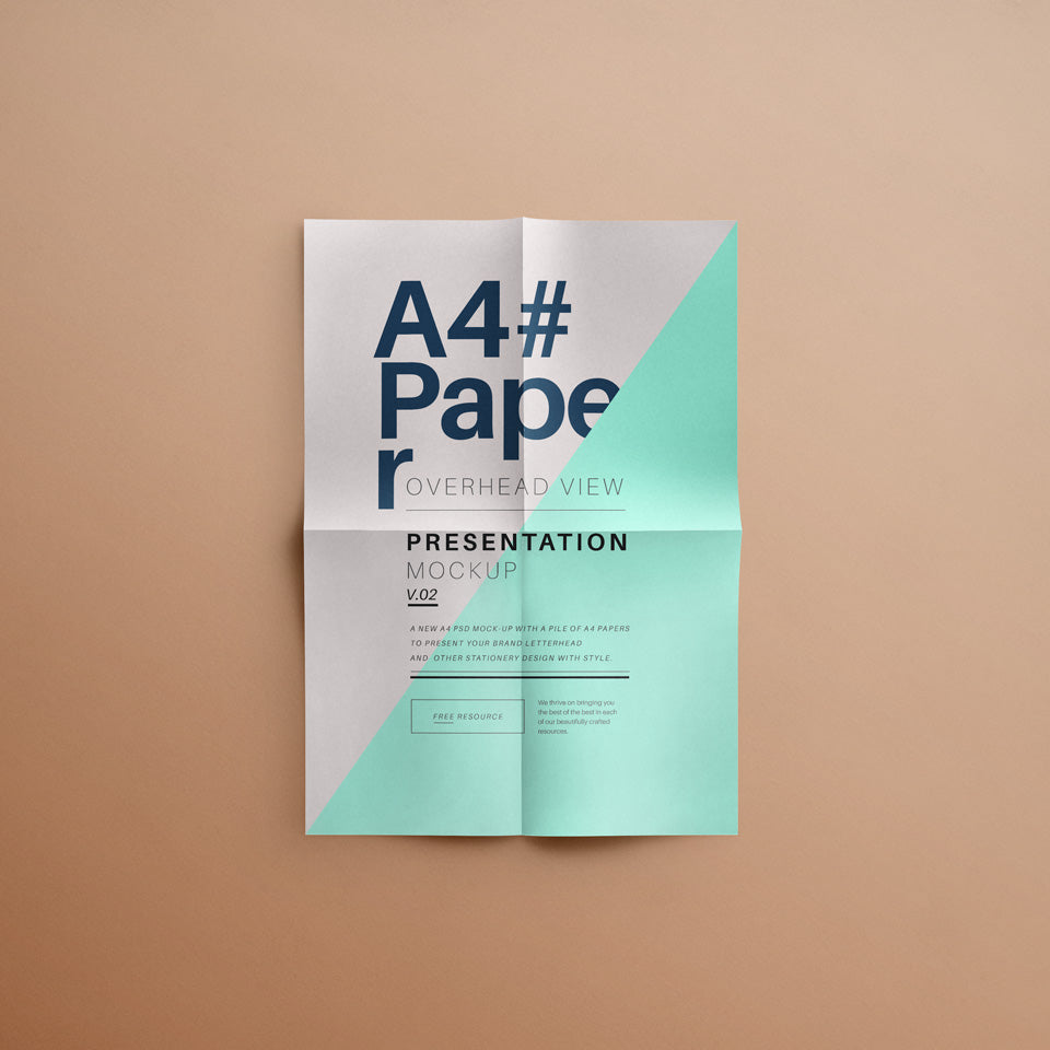 free a4 overhead paper mockup psd