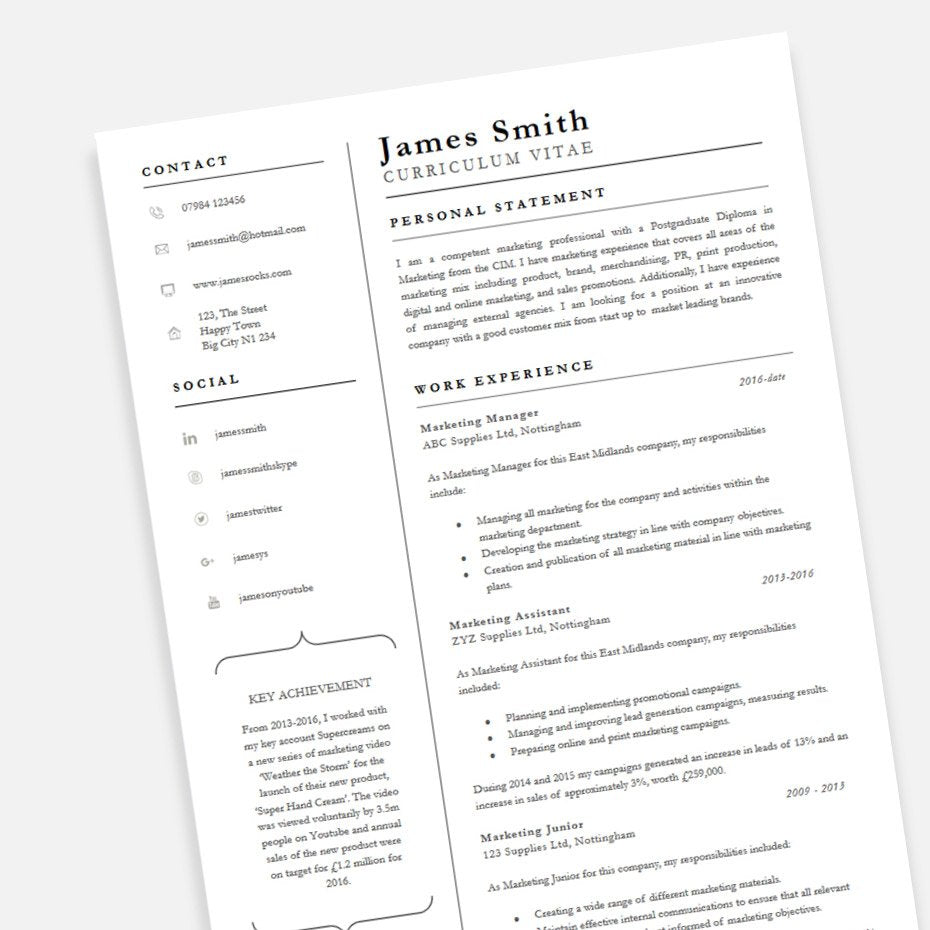 Free Achiever Pofessional CV Resume Template In Microsoft Word (DOCX) Format