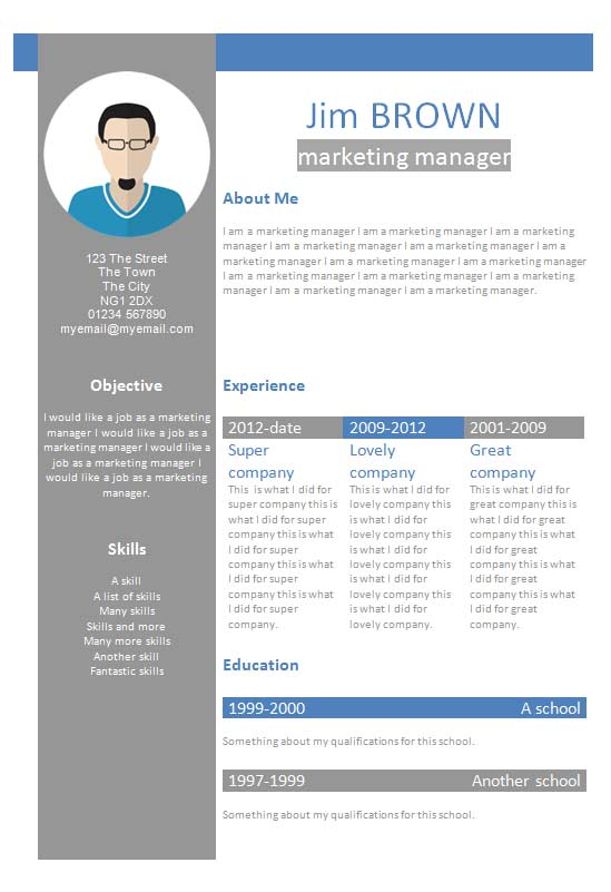 Free Profile Creative CV Resume Template In Microsoft Word DOCX Format